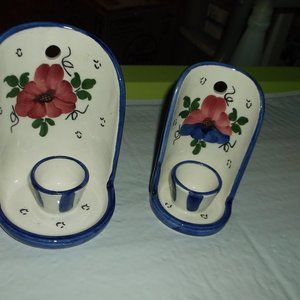 vintage pair of wall hanging candel holders